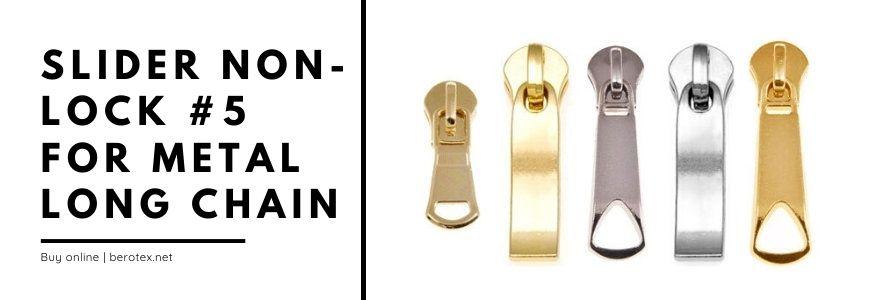 slider non lock 5 for metal long chain